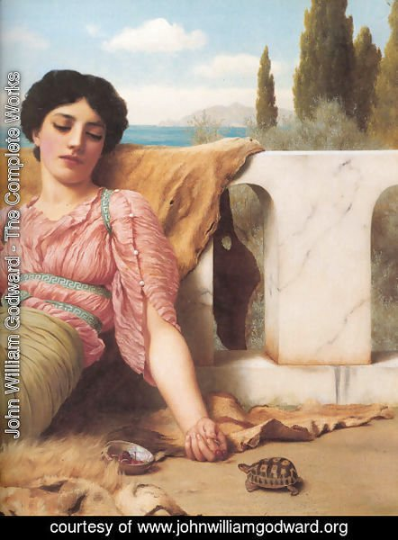 John William Godward - A Quiet Pet [detail]