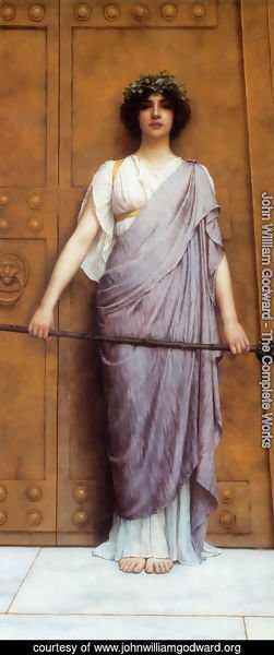 John William Godward - At the Gate of the Temple (or The Priestess of Bacchus)