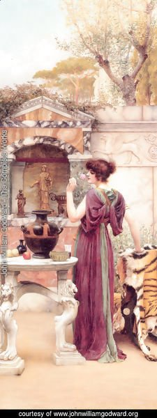 John William Godward - At the Garden Shrine, Pompeii