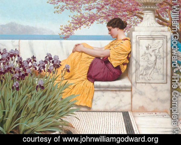 John William Godward - 'Under the Blossom that Hangs on the Bough'
