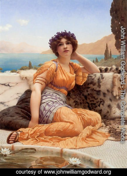 John William Godward - 'With Violets Wreathed and Robe of Saffron Hue'