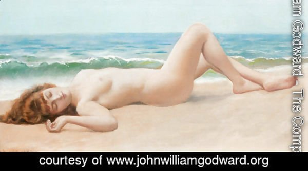 John William Godward - Nu Sur La Plage (Nude on the Beach)