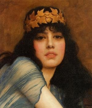 John William Godward - Head of a Girl