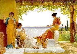 John William Godward - On the Balcony I
