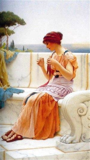 John William Godward - The Seamstress