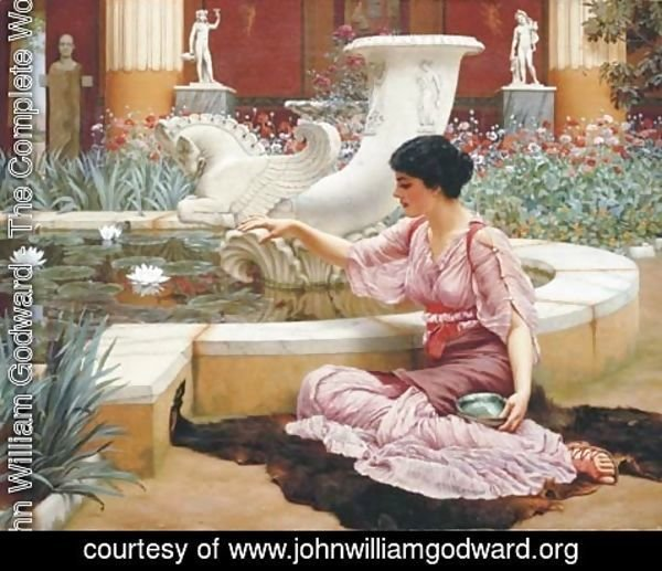 John William Godward - A Pompeian Garden