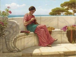 John William Godward - Darning Day