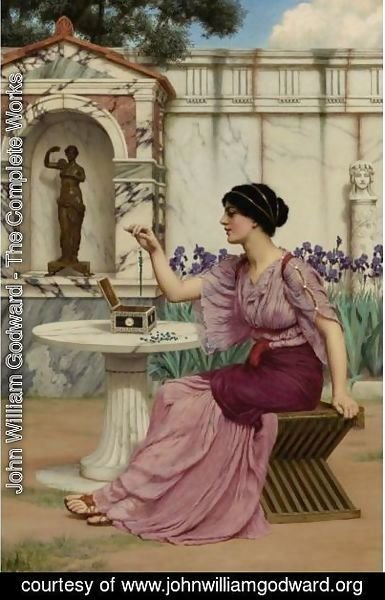 John William Godward - Threading Beads