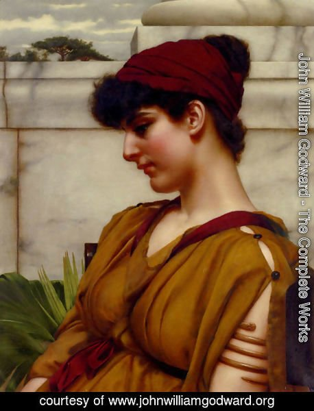 John William Godward - A Classical Beauty In Profile