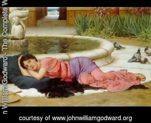 John William Godward - A Cool Retreat