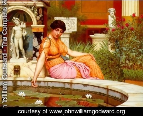 John William Godward - A Lily Pond