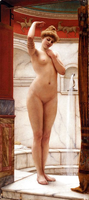John William Godward - A Pompeian Bath
