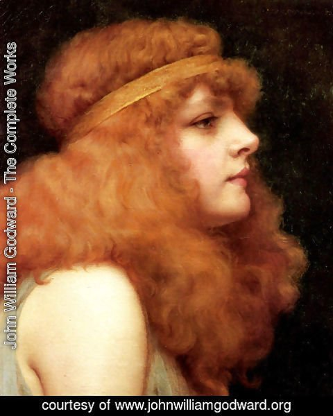 John William Godward - An Auburn Beauty