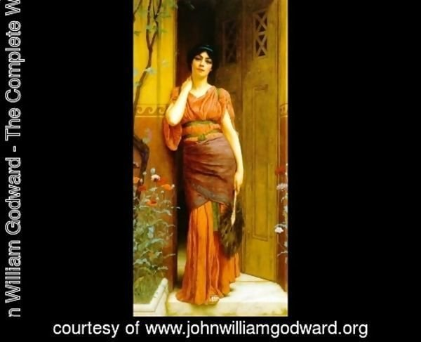 John William Godward - At The Garden Door