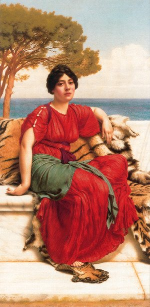 John William Godward - By The Blue Ionian Sea