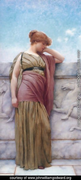 John William Godward - Leaning On The Balcony