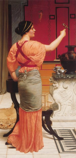 John William Godward - Lesbia With Her Sparrow